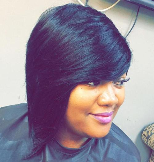 Black Asymmetrical Layered Bob With Bangs