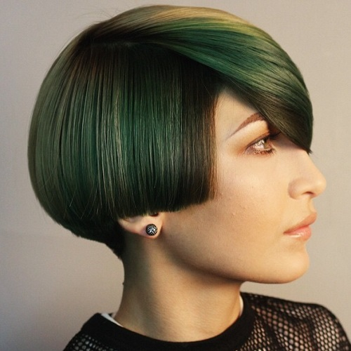 Asymmetrical Bob With Pastel Green Balayage