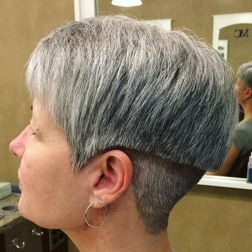 Short Layered Undercut Haircut For Gray Hair