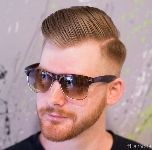 side parted long top fade for men