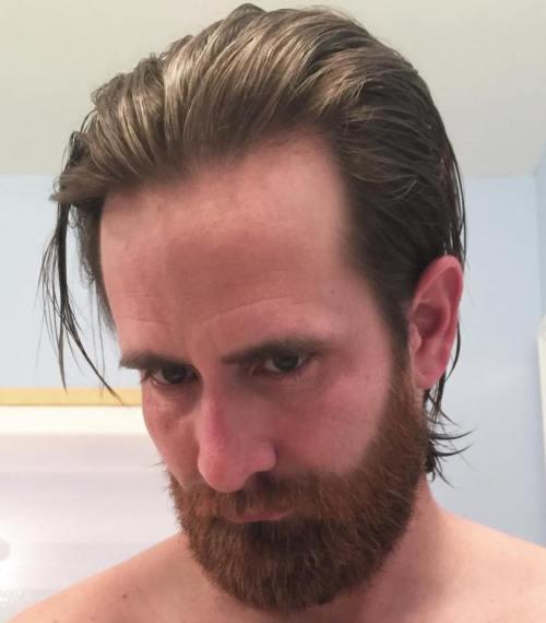 back-swept medium hairstyle for men