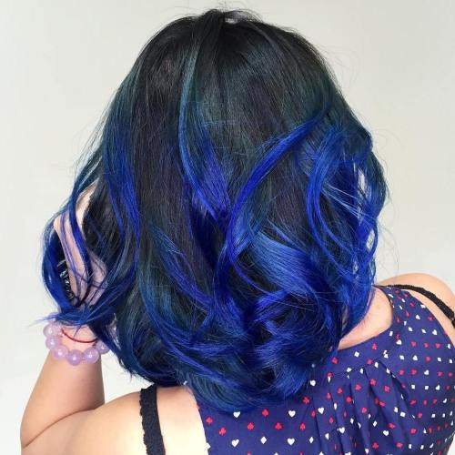 Black Hair With Electric Blue Highlights