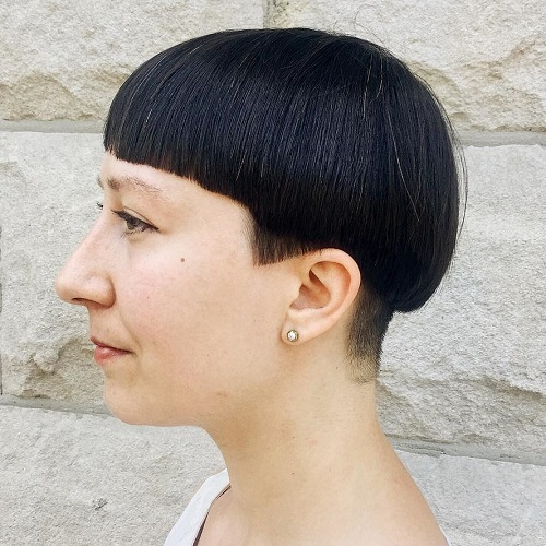 Brunette Bowl Cut