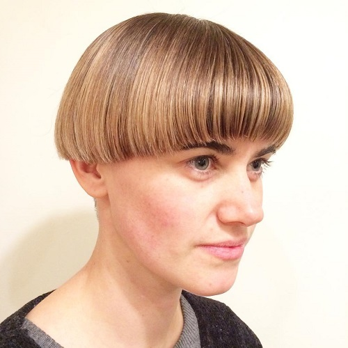 Bowl Cut With Balayage Highlights