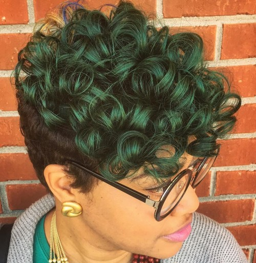 Black And Green Curly Pixie Weave