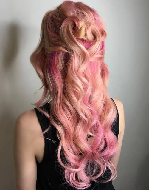 Two-Tone Pastel Pink Hair Color Idea