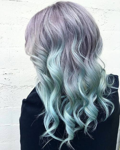 Pastel Purple To Teal Ombre Hair