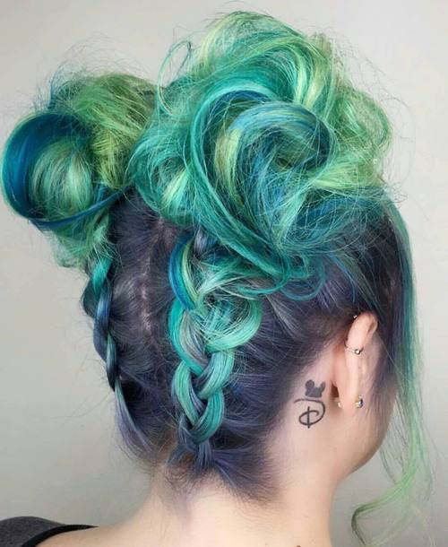 Teal Hair Updo Hairstyle
