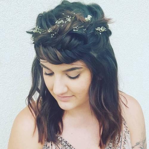 Headband Fishtail Braid with Flowers