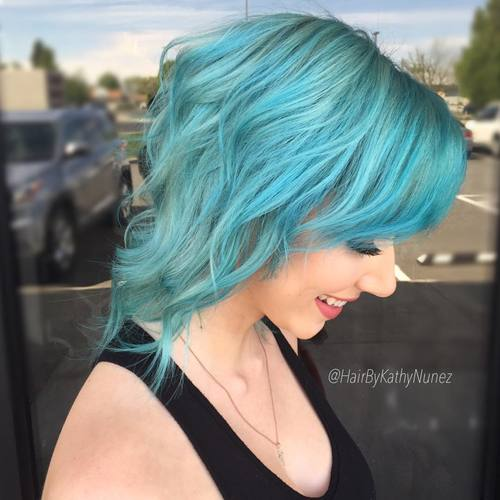 Medium Length Light Teal Hair