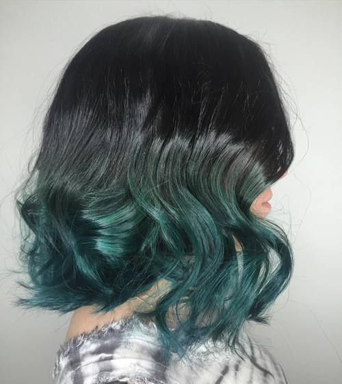 Black To Teal Ombre Lob