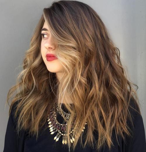 Long Choppy Brown Hair With Blonde Balayage