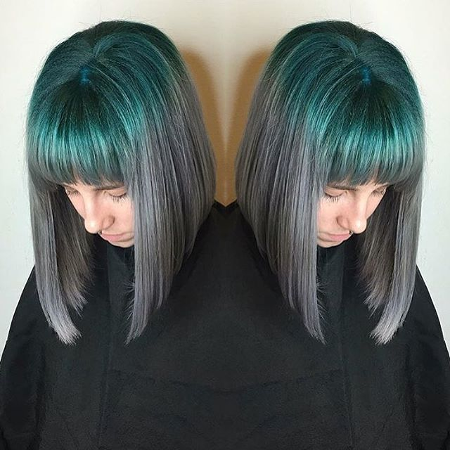 Teal To Gray Lob With Bangs