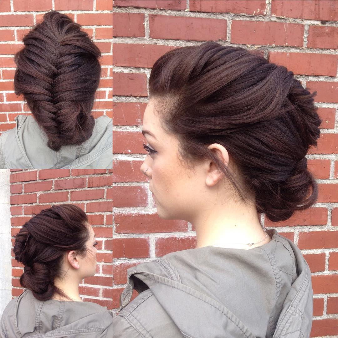 Fishtail Updo For Crimped Hair