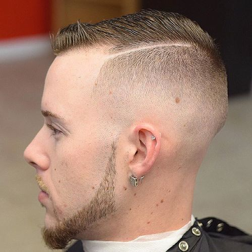 short fade with shaved side part