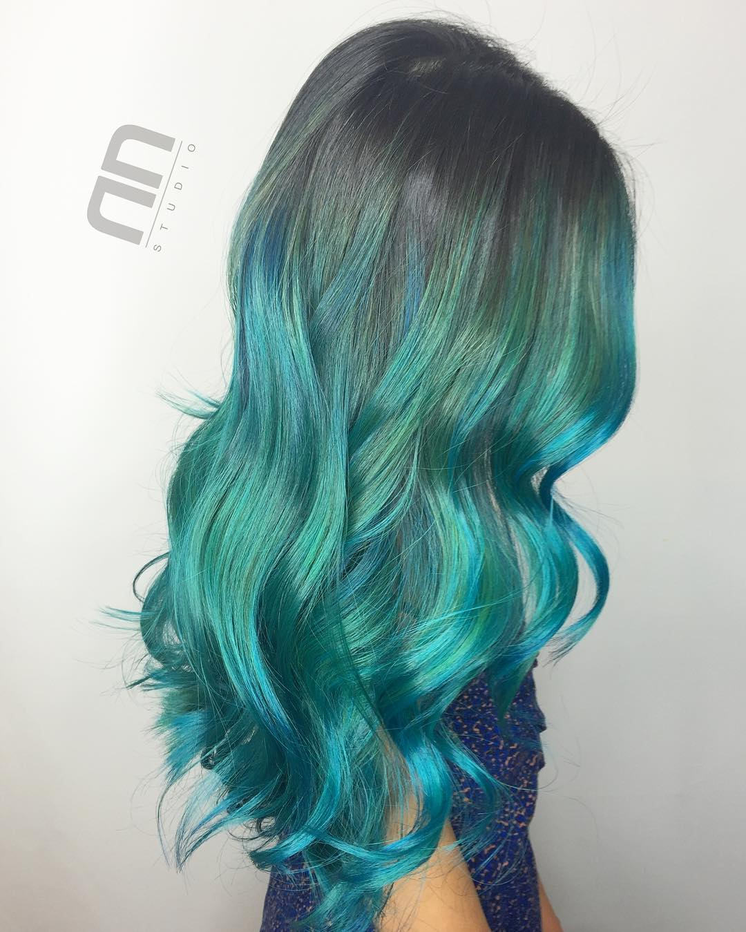 Long Teal Ombre Hair