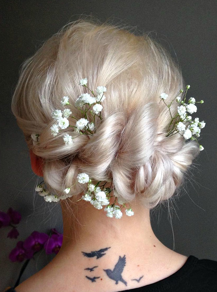 Silver Blonde Updo With Baby'S Breath