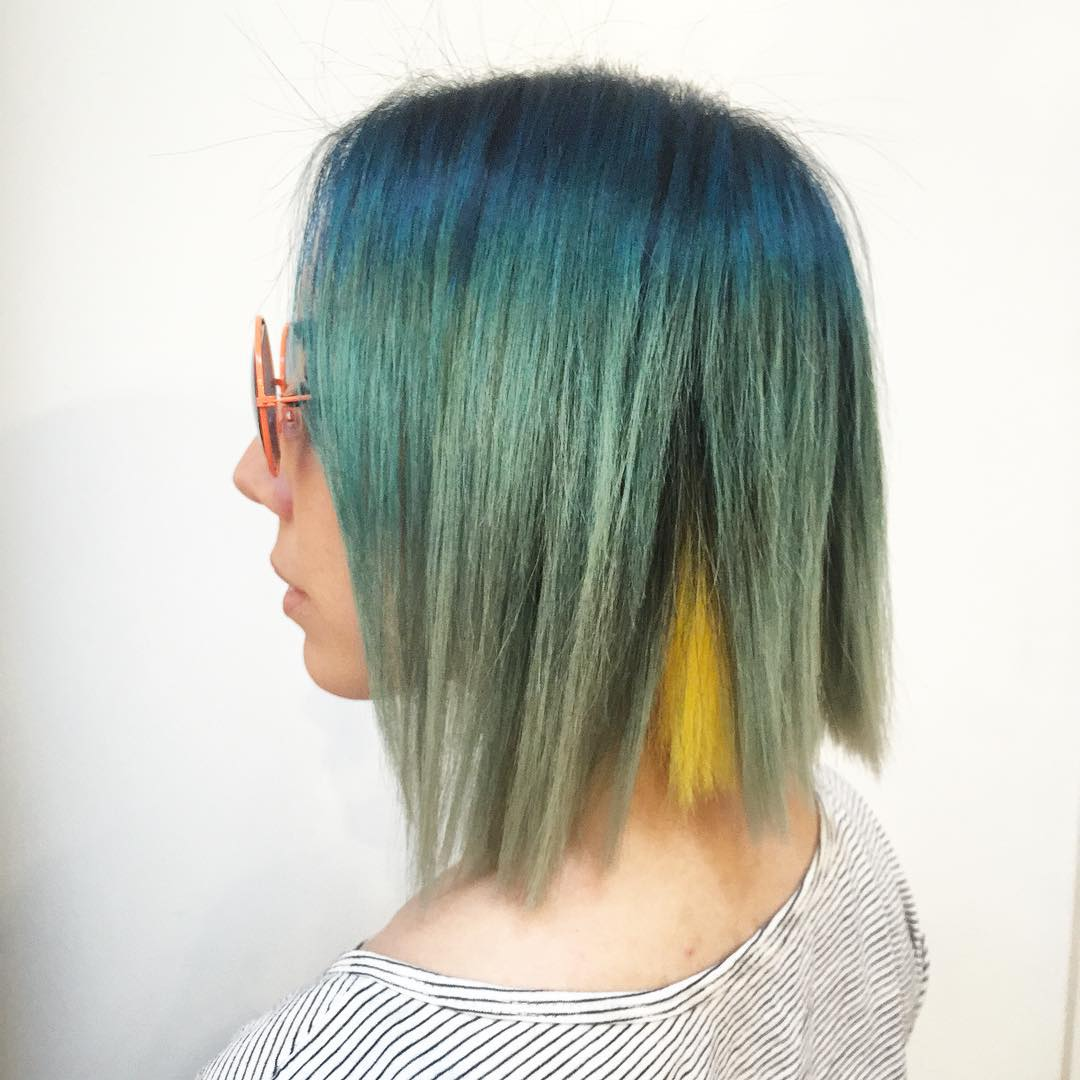20 ways to rock green hair green ombre with yellow peekaboo highlights pmusecretfo Image collections