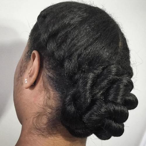 Simple Low Bun Updo For Natural Hair