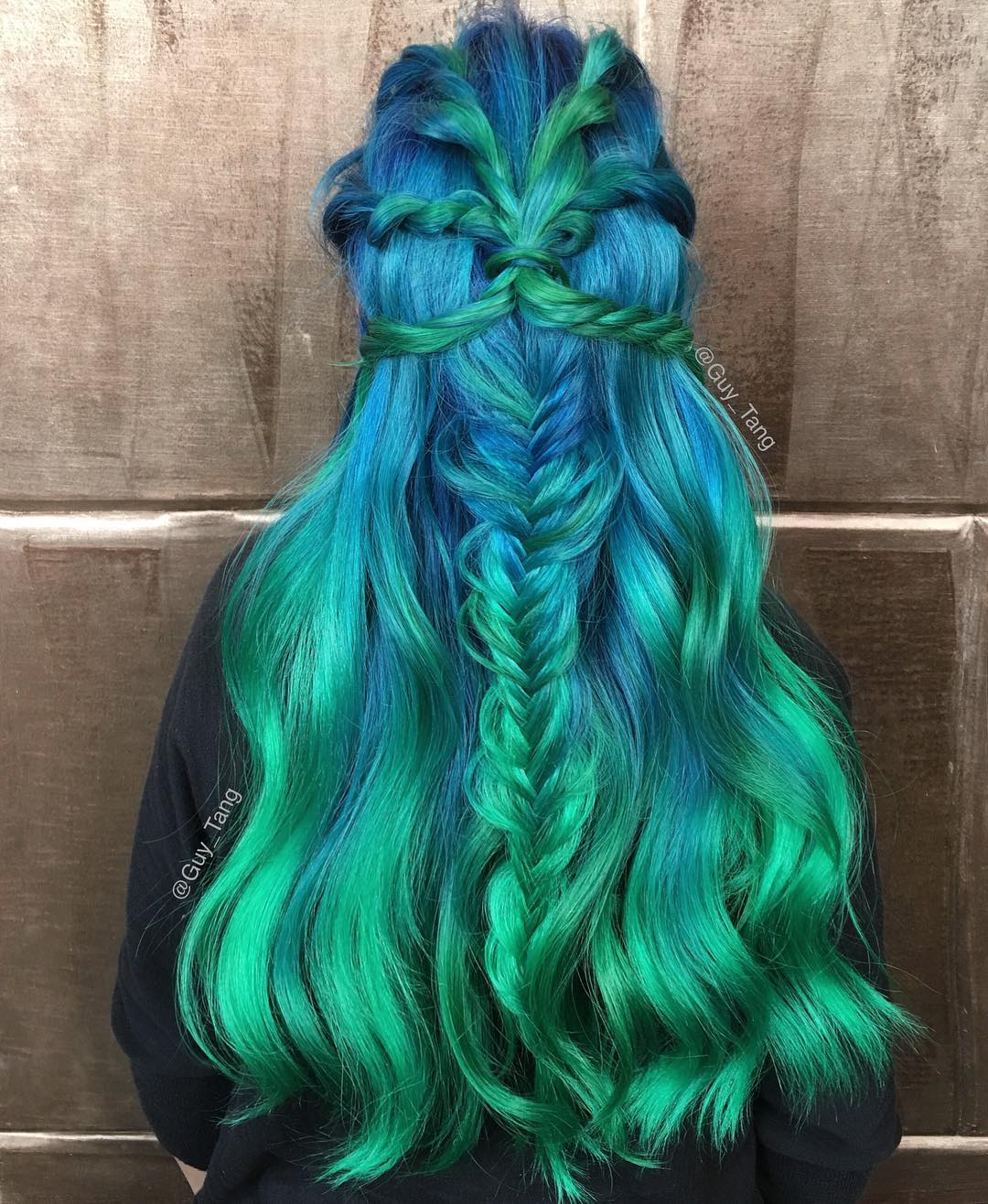 Long Blue And Green Hair
