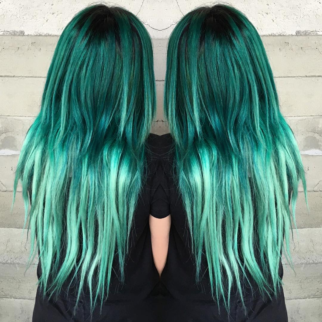 Green Dark ombre hair pictures
