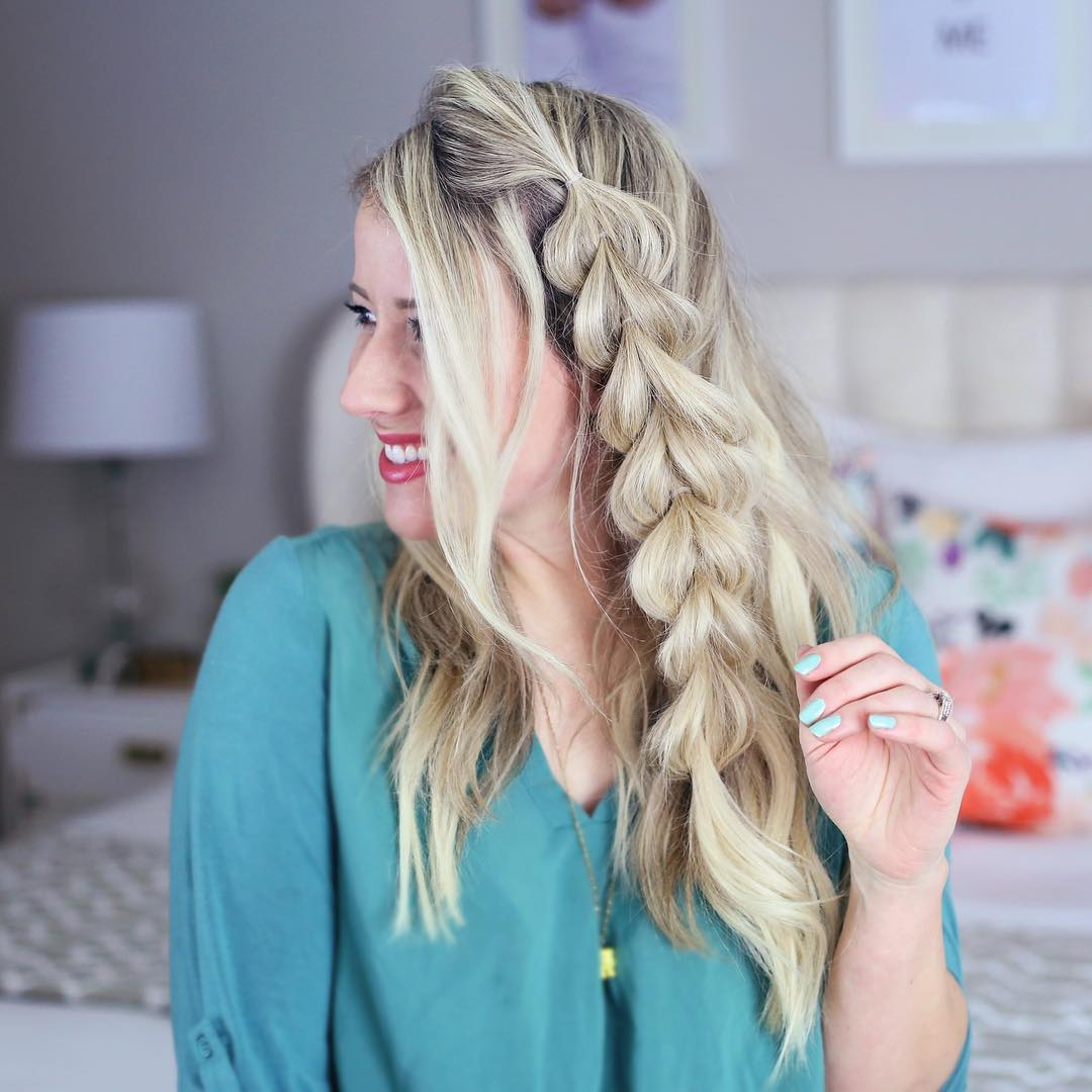 Long Hairstyle With A Side Pull Through Braid