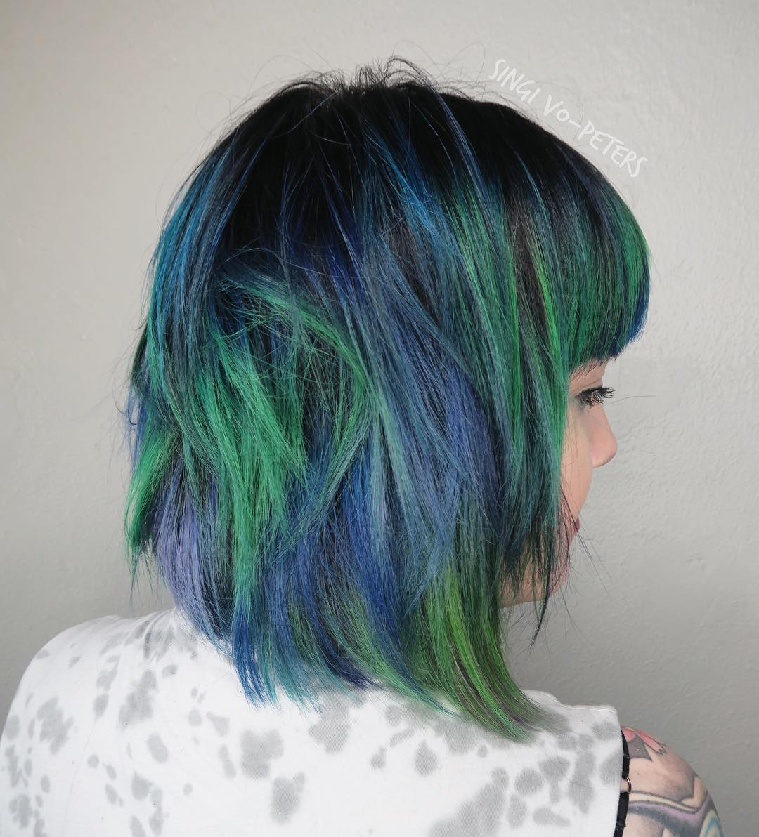 Black Bob With Blue And Green Balayage
