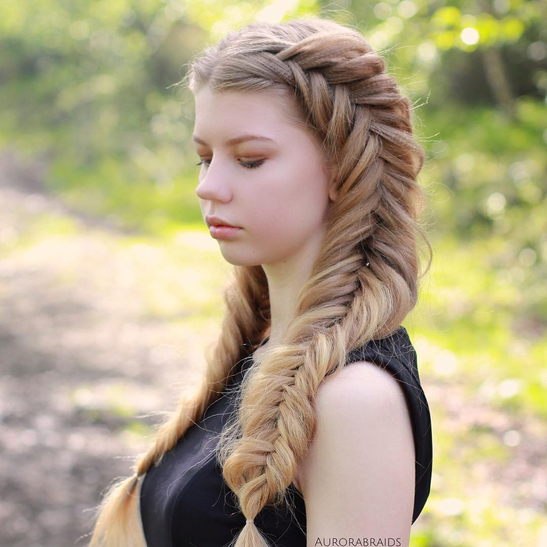 Two Fishtails For Crimped Hair