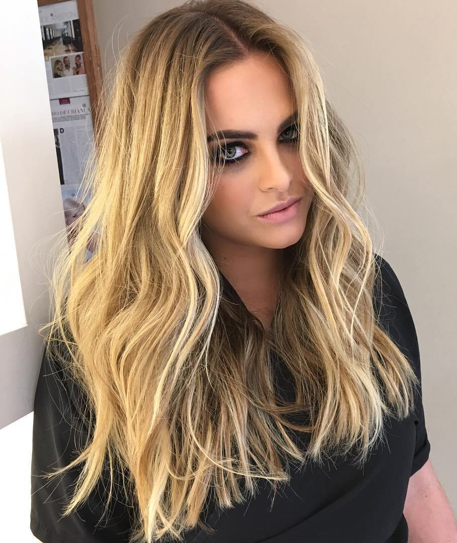 Long Blonde Balayage Beach Waves