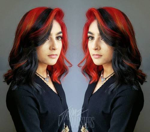 20 cool styles with bright red hair color two tone black and red hair pmusecretfo Choice Image
