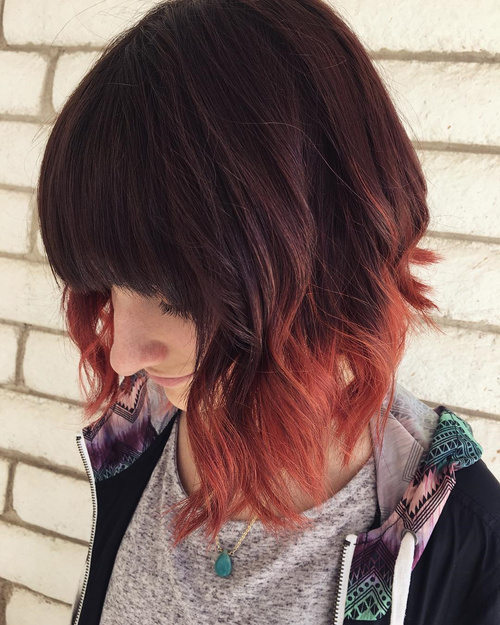 Copper Red Dip Dye Bob