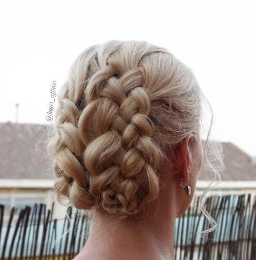 Two Braids Updo With Strand Braids