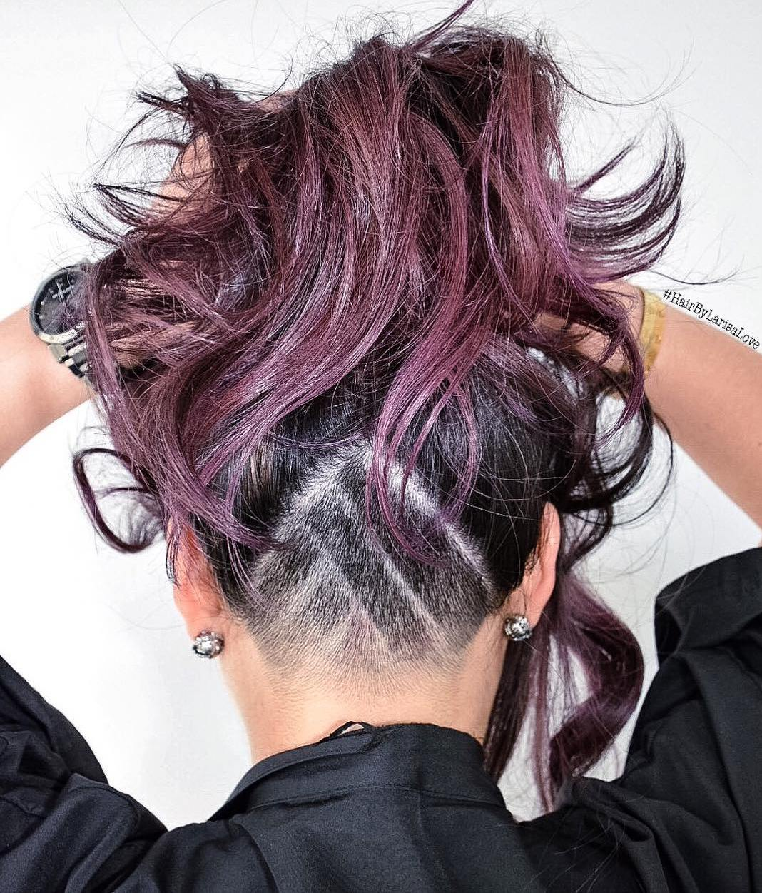 Burgundy Hair With Nape Undercut