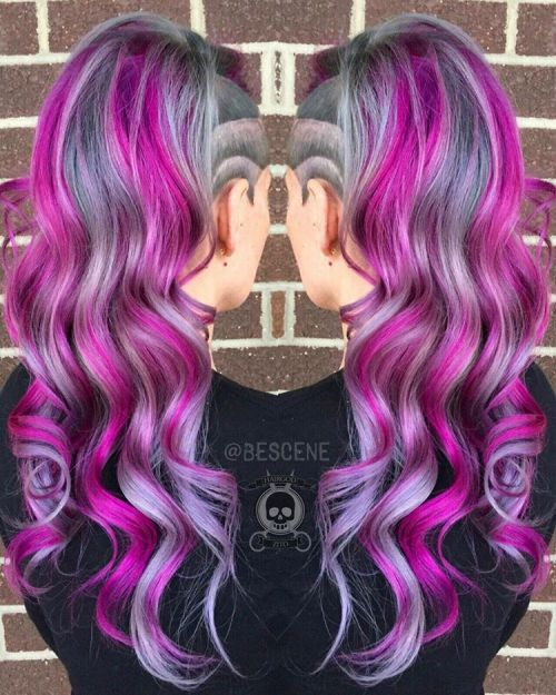 Long Gray And Purple Hairstyle With Undercut