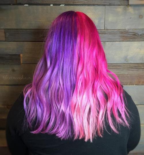 Half Purple Half Pink Pastel Hair