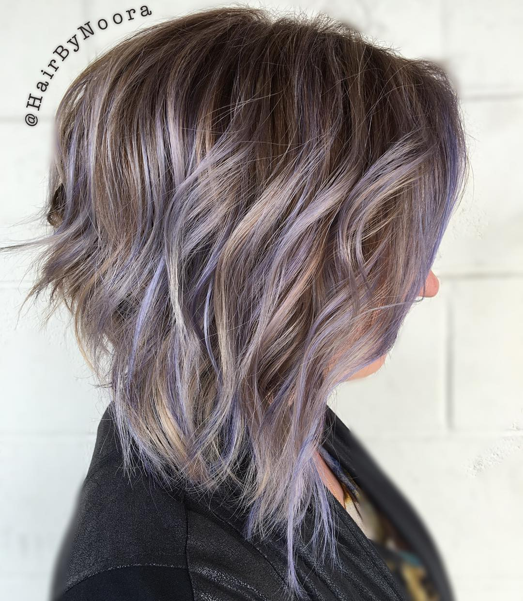 Ash Brown Bob With Lilac Highlights