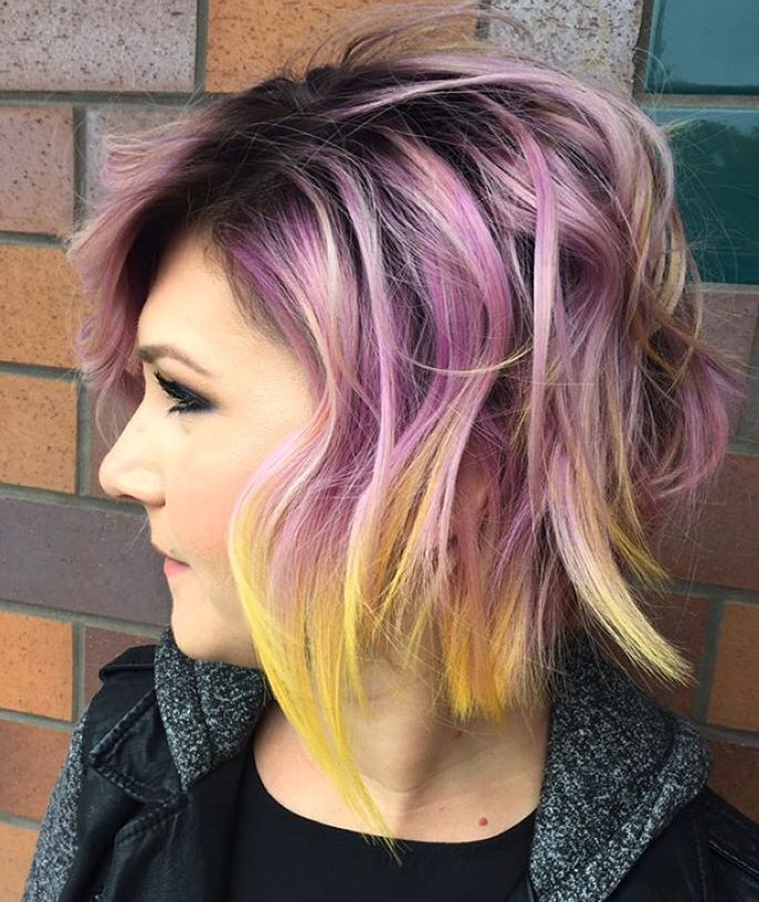 Pastel Purple Bob With Yellow Dip Dye