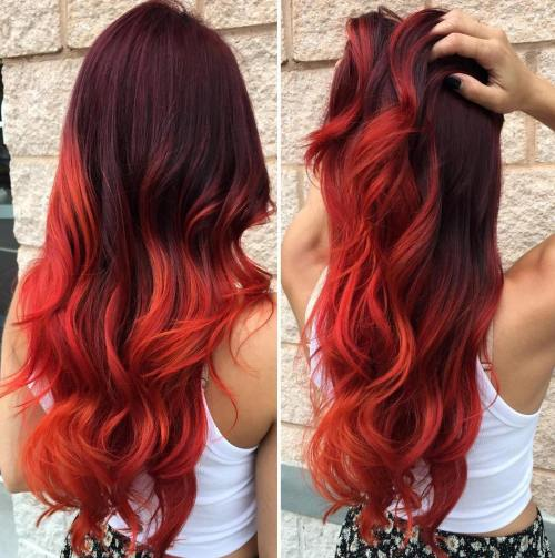 Burgundy To Red Ombre