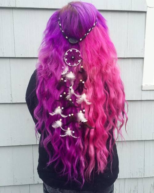 Half Purple Half Pink Hair