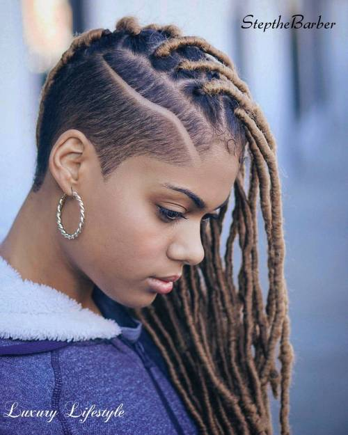 Asymmetrical Undercut With Faux Locs