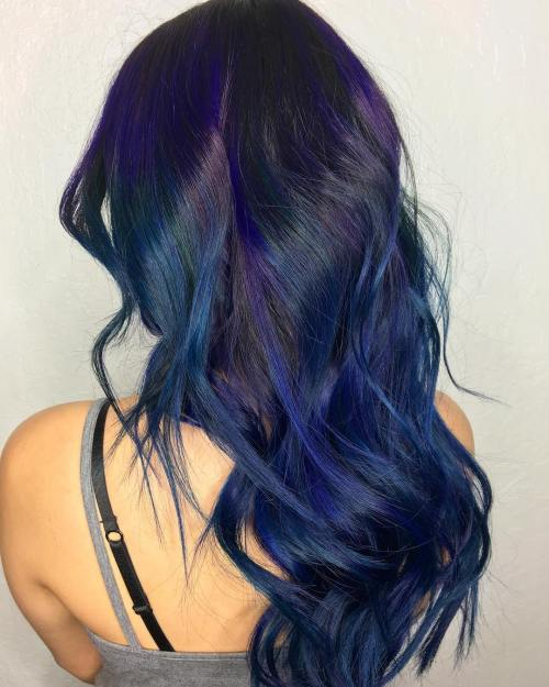 Blue And Purple Highlights For Black Hair