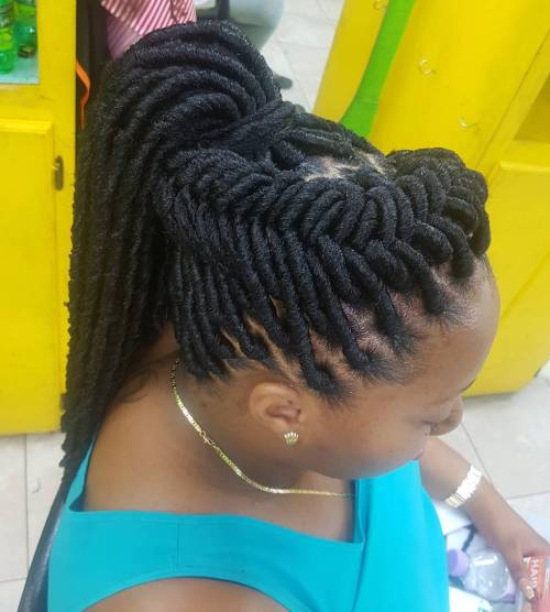 Faux Locs In A Braided Updo
