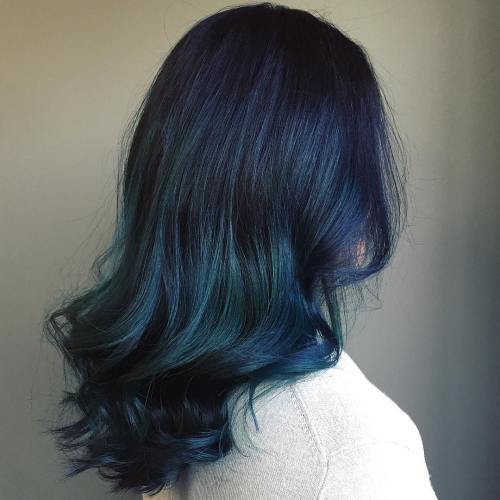 20 Magnetizing Hairstyles With Dark Blue Hair Color