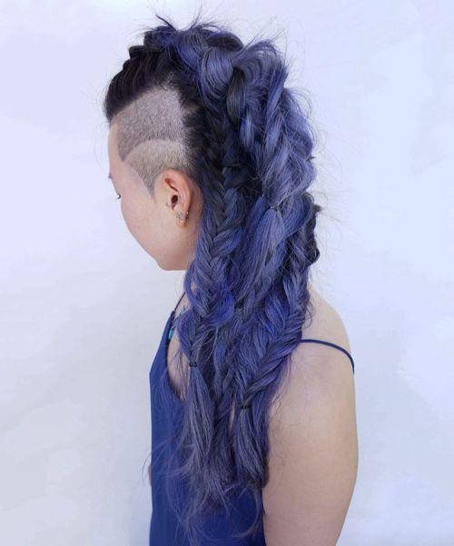 Long Braided Pastel Purple Mohawk