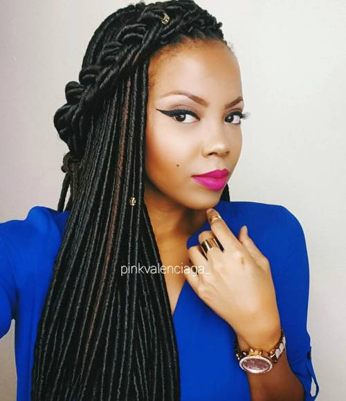Braided Thin Long Faux Locs