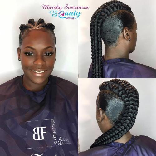 Women's Black Braided Mohawk