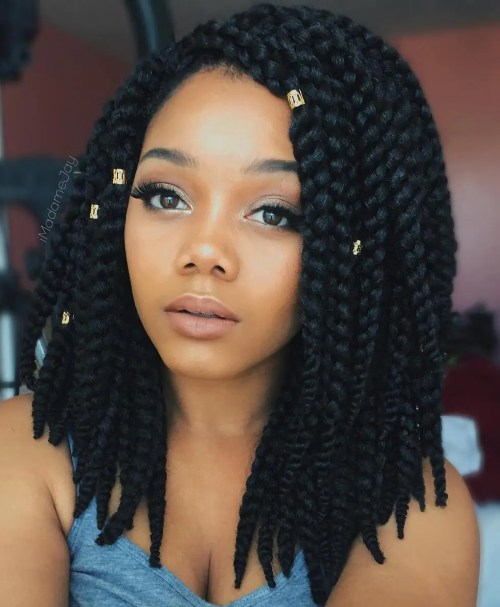 Box Braids Lob With Beads