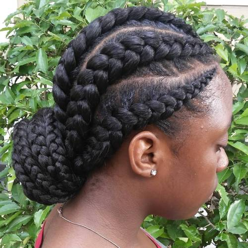 Low Bun For Ghana Braids