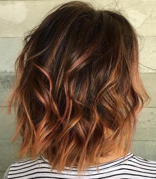 Brown Bob With Cinnamon Highlights