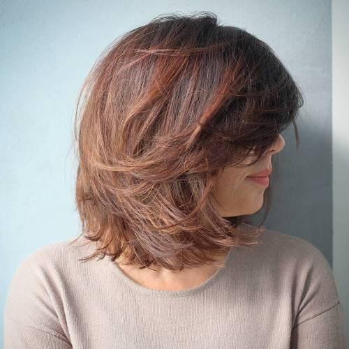 Layered Brown Bob With Bangs